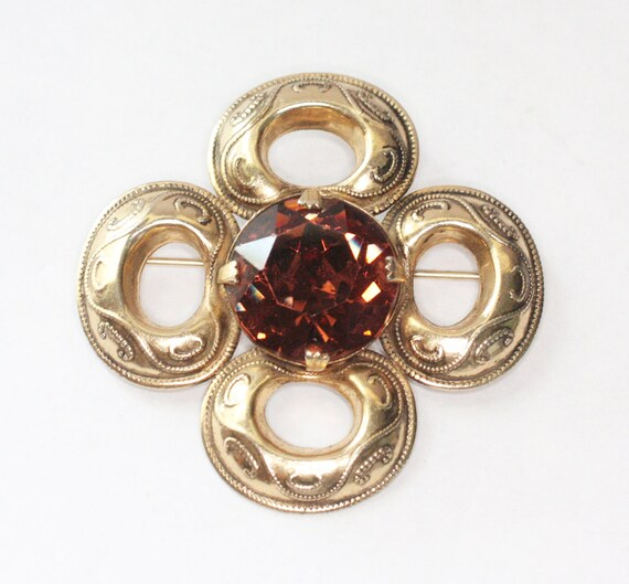 Topaz Glass Celtic Style Brooch Four Sided Beaded Swirled Design Vintage Pin