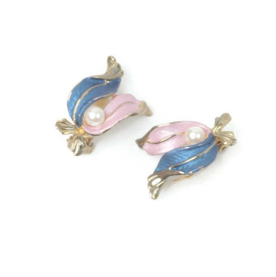 Pink and Blue Enameled Earrings Faux Pearl Clip On Style Vintage