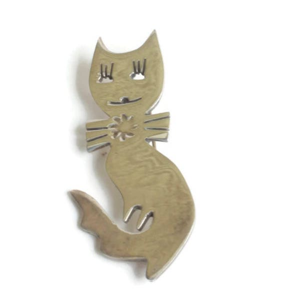 Smiling Cat with Bow Tie Brooch Sterling Silver Cut Out Design Curled Tail Taxco Mexico Signed