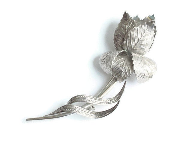 Large Silver Tone Rose Brooch Signed Giovanni Wedding Gift Idea Vintage Pin