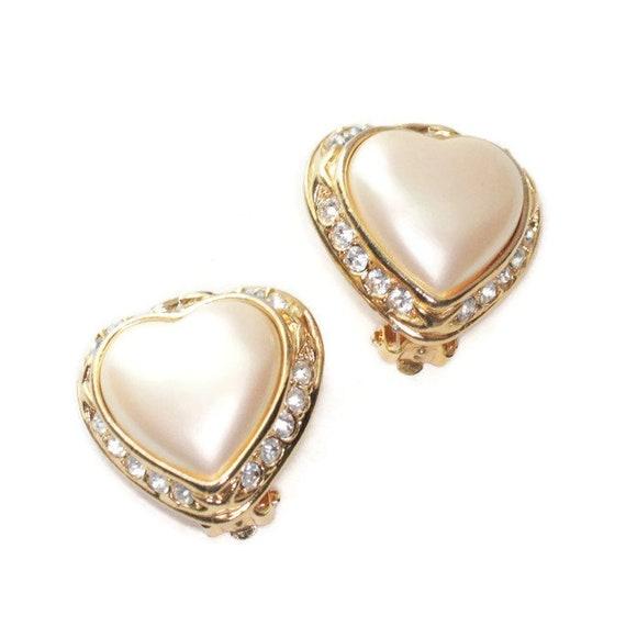 Joan Rivers Faux Pearl Heart Earrings Rhinestones Clip On Designer