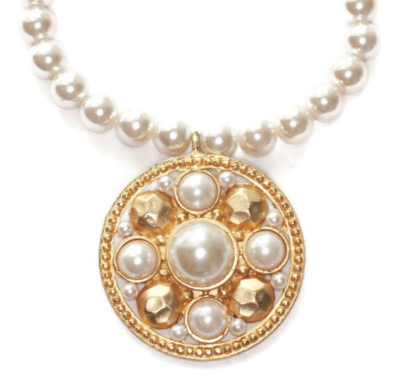 Long Faux Pearl Necklace with Chunky Medallion Pendant 36 Inch Retro Necklace Vintage