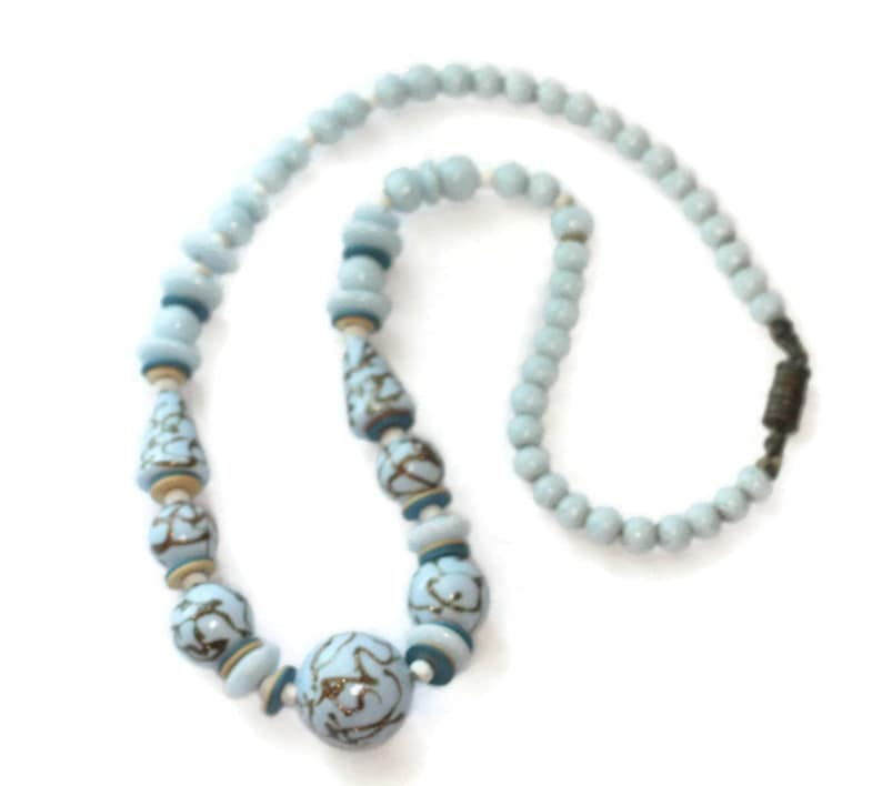 Pale Blue Bead Necklace Art Deco Czech  1930s Vintage Aventurine Trail Iridescent Beads