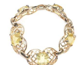 Jonquil Yellow Bracelet Princess Cut Glass Filigree Setting Gold Tone Vintage Signed GAD