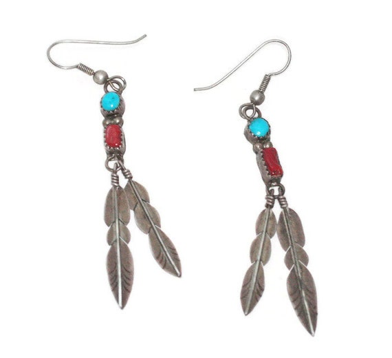 Sterling Silver Two Feather Dangle Earrings Coral Turquoise Native American Ear Wires