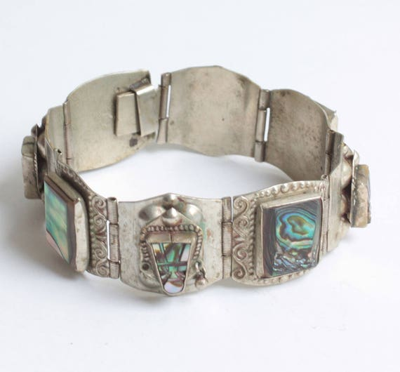 Mexican Face Mask Abalone Bracelet Alpaca Silver Metal Tribal Boho Eagle Mark