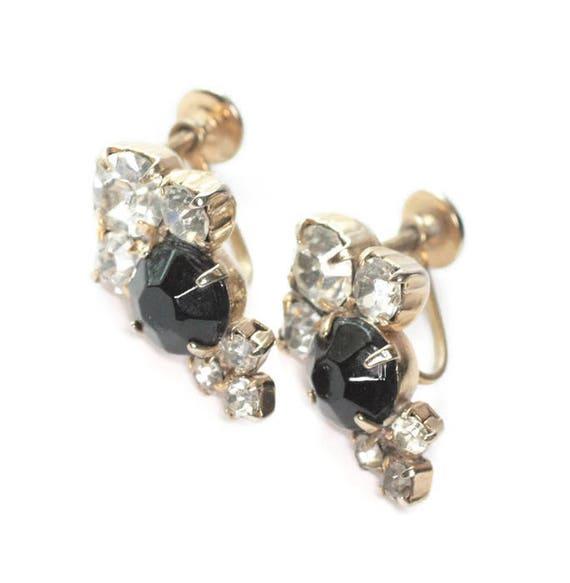 Black and Clear Rhinestone Earrings Screw Back Vintage 1950s