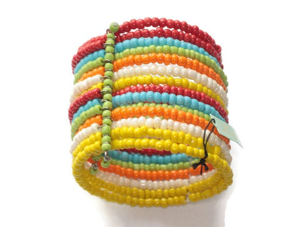 Multi Color Bead Wrap Bracelet Expansion Cuff 2 Inches Wide Original Tag