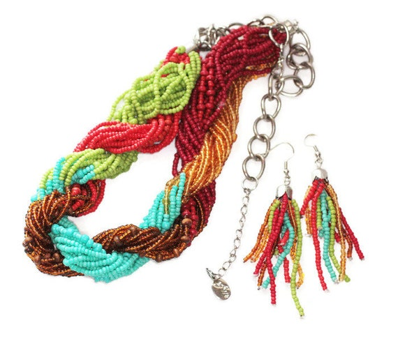 Multi Color Torsade Bead Necklace Tassel Earring Set French Hook Ear Wires Dangles Designer