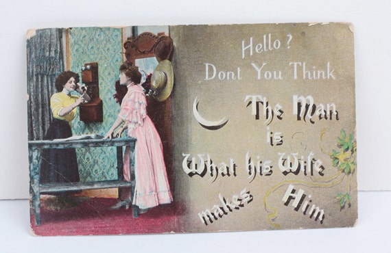 Man and Wife Humorous Postcard 1906 Antique Real Photo Postcard