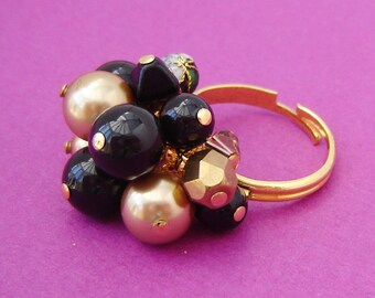 Black and Gold Beaded Ring