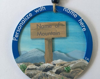 Personalized Mountain Summit Ornament, Wooden Disc, 3D