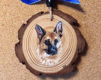 Pet Portrait Ornament, Keepsake Memorial Pet Ornament, Wood Slice Ornament