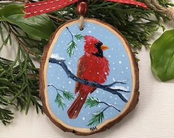 Cardinal Ornament, Hand-painted on wood slice