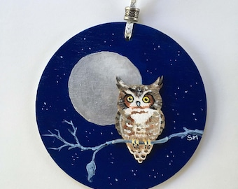 Owl Always Love You Wood Ornament , Fine Art, Hand Painted, Wooden Disc, 3D