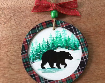 Black Bear Ornament , Fine Art, Hand Painted, Wooden Disc, 3D