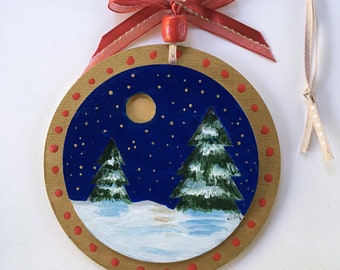Pine Trees in Snow Christmas Ornament , Fine Art, Hand Painted, Wooden Disc, 3D