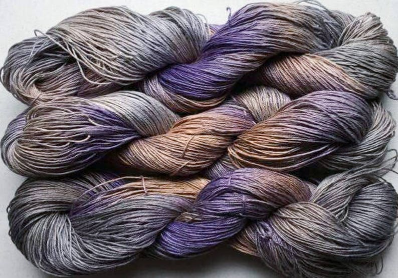 Hand painted yarn 300 yds Old Brass Linen 164