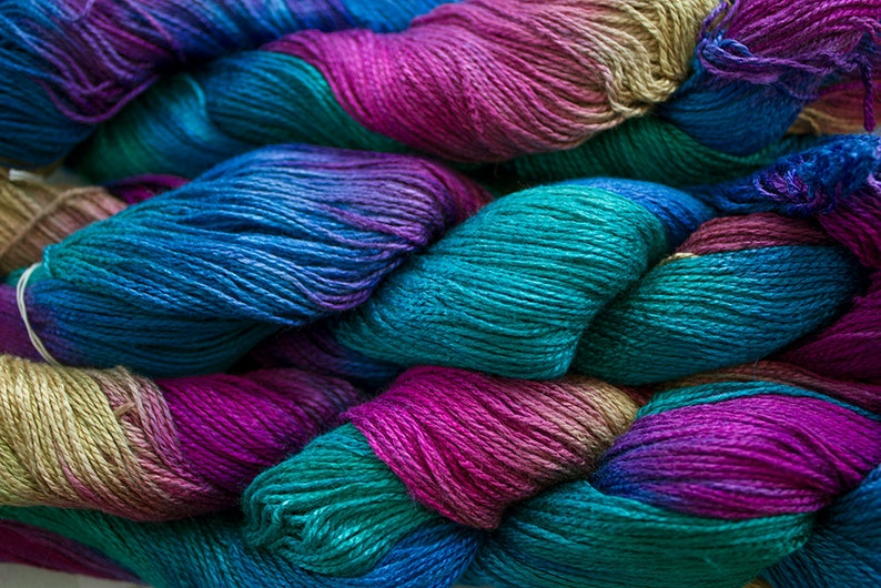 300yds Fine Bamboo Hand Painted yarn Aurora