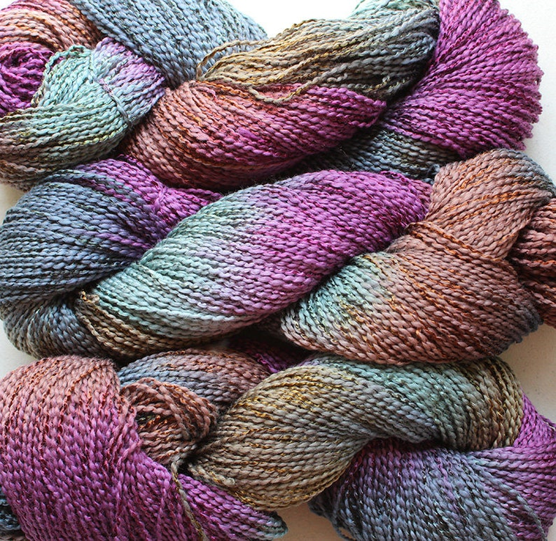 Dove cottray stripe Elderberry 300 yds hand dyed yarn