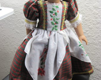 American Girl doll Christmas dress with vintage hanky design. One of a kind.