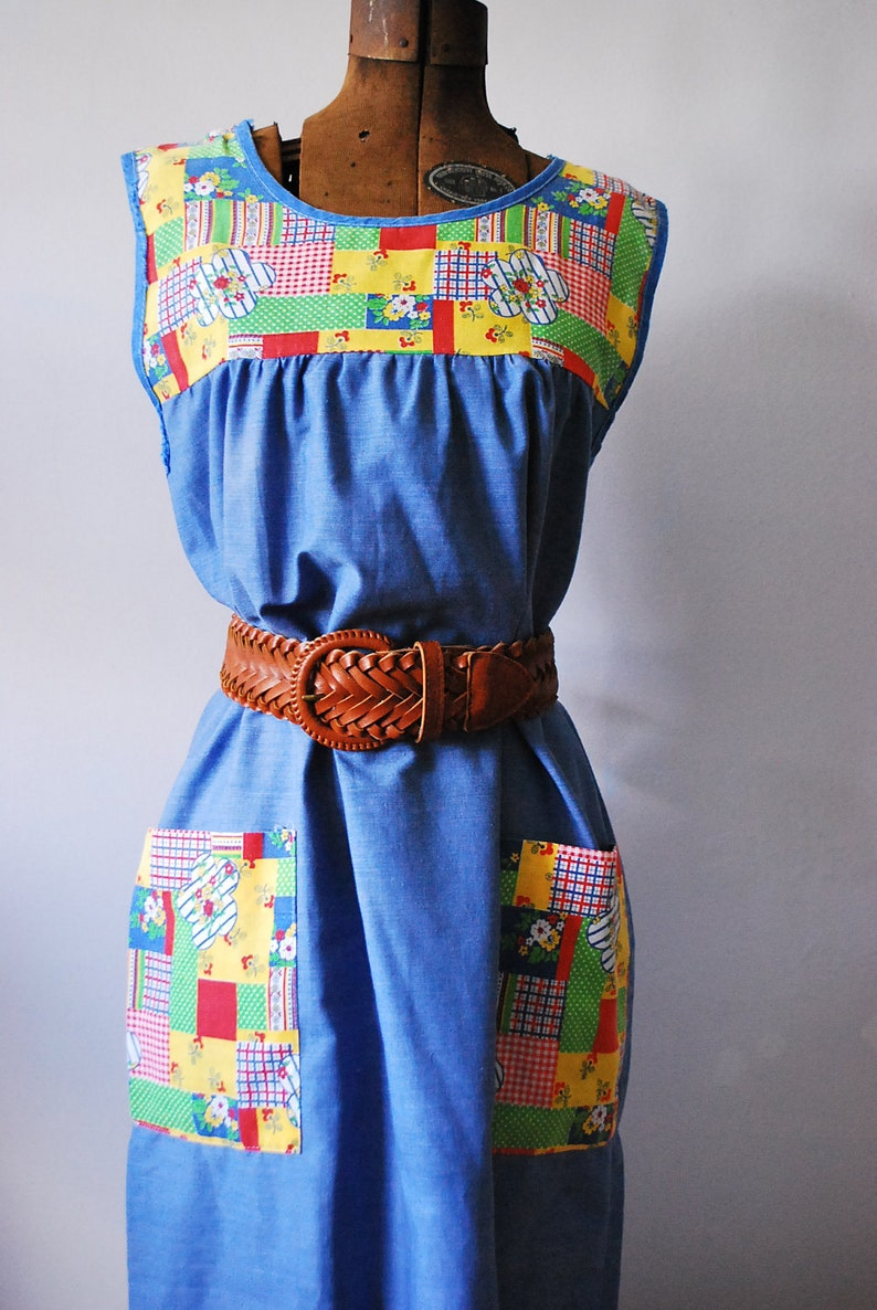 Vintage Handmade Patchwork Chambray Housecoat