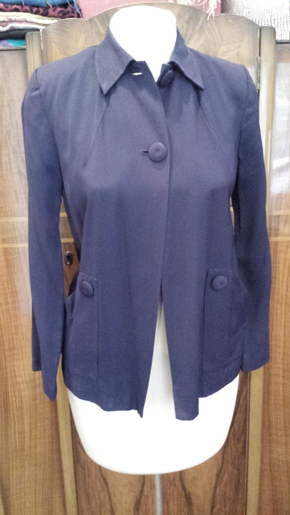 40's Navy Gabardine Swing Jacket, Sz S