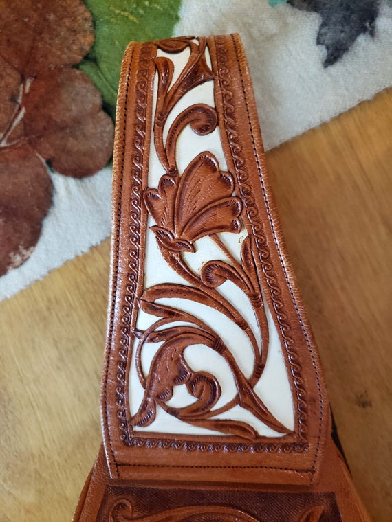 60s Two Tone Tooled Cowhide Leather Purse, Handba… - image 6