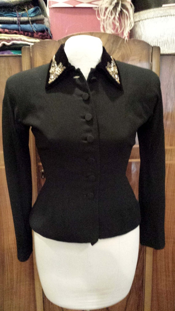 40's Tailored Wool Suit Jacket, Sz. S, Beaded  Ve… - image 1