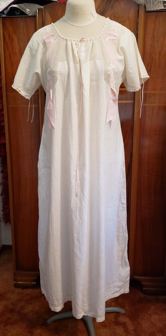 Edwardian Cotton Nightgown, Crochet Yoke, Lingerie