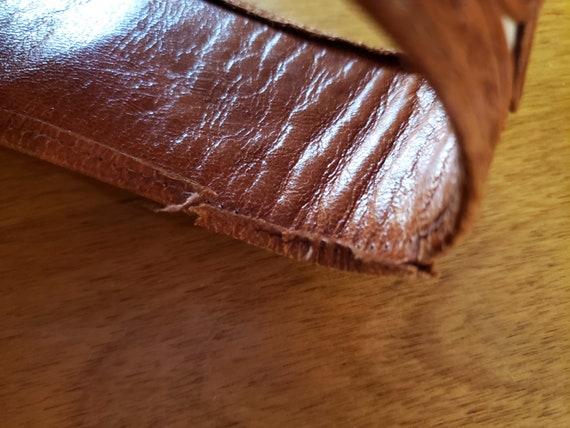60s Two Tone Tooled Cowhide Leather Purse, Handba… - image 9