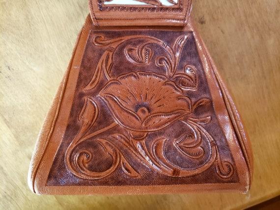 60s Two Tone Tooled Cowhide Leather Purse, Handba… - image 5