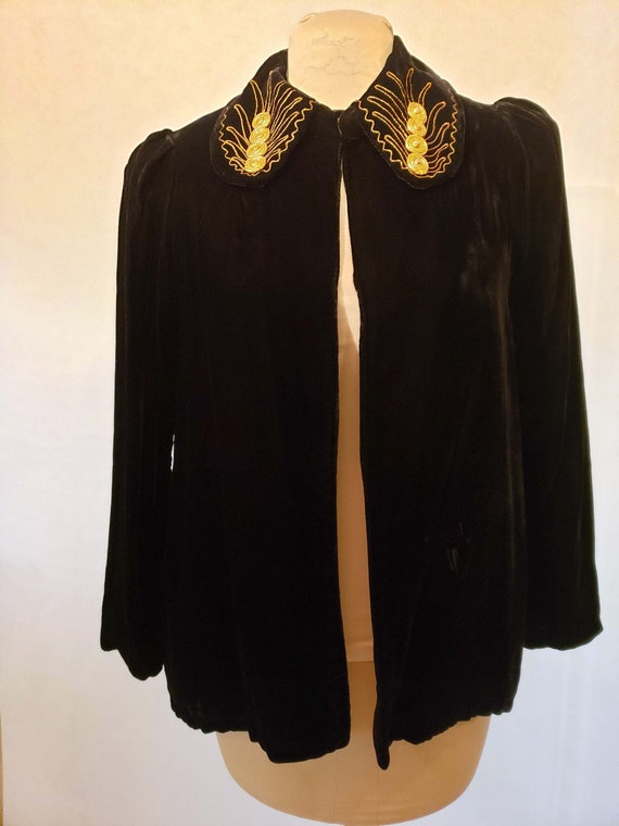 40's Velvet Coat Embellished Collar