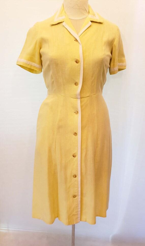 50's Yellow Linen Shirtdress, Day Dress, Vintage,