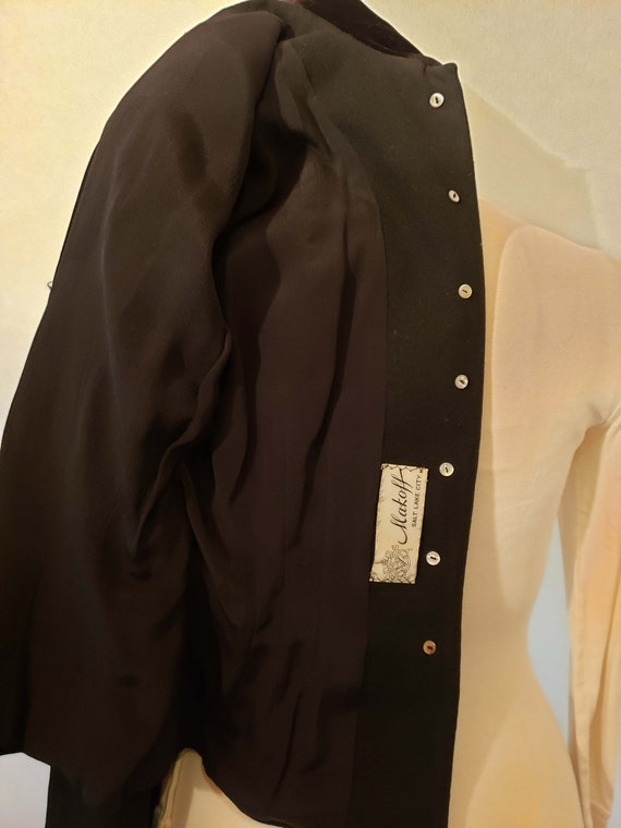 40's Tailored Wool Suit Jacket, Sz. S, Beaded  Ve… - image 10