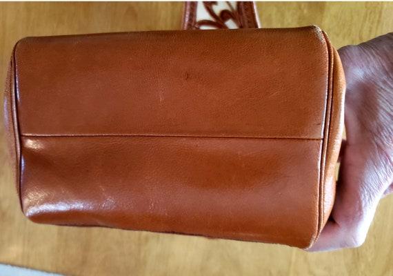 60s Two Tone Tooled Cowhide Leather Purse, Handba… - image 8