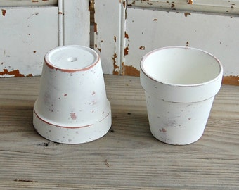 White flower pot etsy two each white flower pots distressed chippy painted clay pots wedding decor mightylinksfo