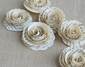 75 - Paper Roses /   Book Page Flowers /  Book Themed Shower / Wedding
