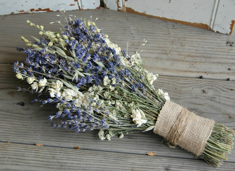 Lavender Dried Flower Bridal Bouquet / Wedding flowers image 0