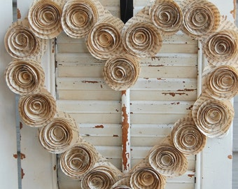 """9"""" Wuthering Heights Book Wreath / Heart Wreath / Paper Rose Wreath  / Literary Wreath"""