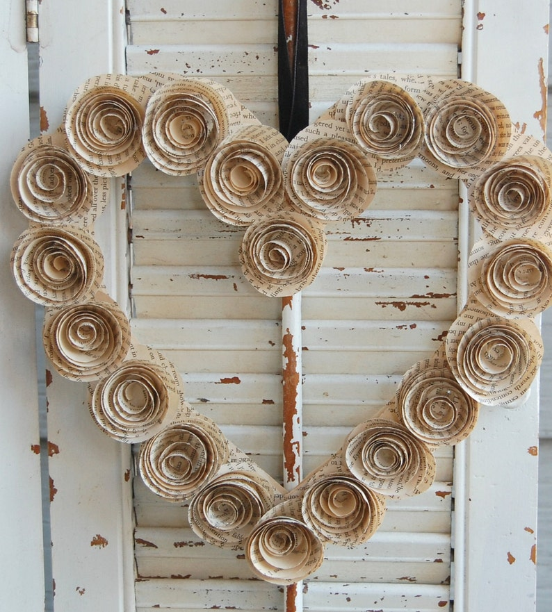 Handmade Heart Wreath made from Pride and Prejudice book pages and 25 Beautifully Handmade Decor Finds for Home to help you feather your nest and also inspire your interior design schemes.