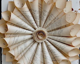 """Book Page Wreath / French Book Wreath /  Paper Cone Wreath / 9-10"""""""