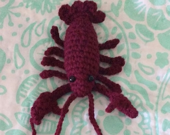 Crochet lobster toy burgundy