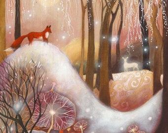 Limited edition giclee print titled 'Illumina' by Amanda Clark - Fairy tale art and illustrations, wildlife art, fox art