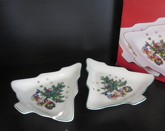 vintage christmas candy dish two christmas tree shaped candy nut dishes christmastime dishes made in japan by nikko nib - Christmas Candy Dishes