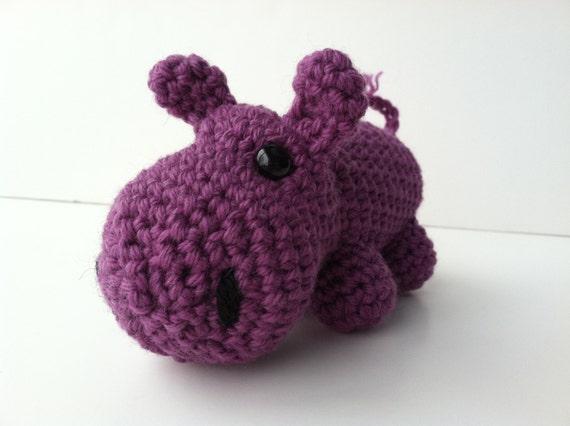 Amigurumi Crochet Orchid Purple Hippo Plush Toy Kawaii Plush Etsy