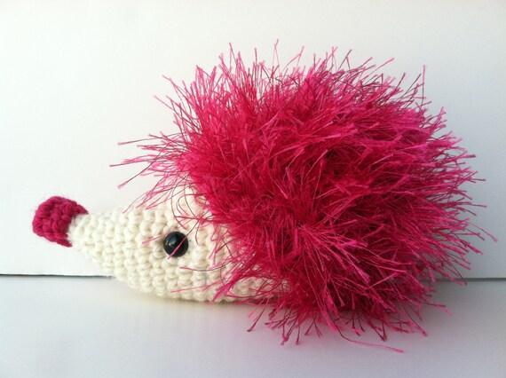 Amigurumi Crochet Fuchsia Pink Hedgehog Plush Kawaii Plush Etsy