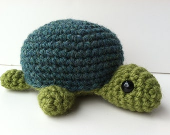 Amigurumi Crochet Turtle Plush Toy - Green and Teal Kawaii Plush Turtle Nursery Decor Gift Under 25 Stuffed Animal Turtle Plushie Turtle Toy