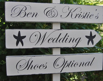 WeDDinG SiGn - ShoEs OpTioNaL Sign - BeaCH WeDDinG SiGn - CLaSSiC LeTTeRiNg - DiReCTioNaL WeDDiNg SiGnS - 4ft Stake - Distressed Ivory