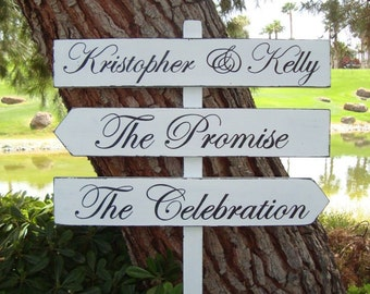 "DiReCTioNaL WeDDiNg SiGnS - Classic Styled - Custom Wedding Arrow Signs - 4ft Stake - ""The Promise"" & ""The Celebration"" - 20 X 3"